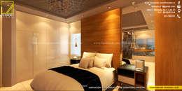 Vista de Cabecera en Melamine de 18mm con textura de Madera Natural _Contacto 925399750: Dormitorios de estilo  por F9 studio Arquitectos