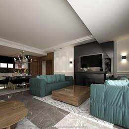 غرفة المعيشة تنفيذ ahmed hussein designs