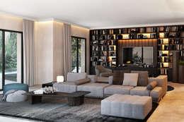 غرفة المعيشة تنفيذ DZINE & CO, Arquitectura e Design de Interiores
