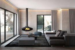 House overlooking the park: Salas de estar modernas por DZINE & CO, Arquitectura e Design de Interiores