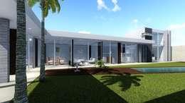 AREA COMUN SALA COMEDOR COCINA OFICINA: Salas de estilo moderno por BOCA ARQUITECTOS