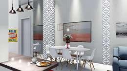Casa pequena e charmosa: Salas de jantar modernas por Trivisio 3D