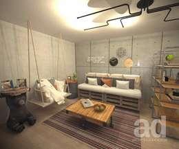 Projeto Rafael - Apartamento em São José do Rio Preto: Salas de estar industriais por Projeto Ad