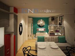 Vista departamento: Salas de estilo moderno por Zono Interieur