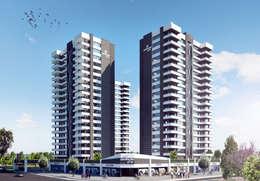Lux Tasarım Ofisi – dış cephe tasarımı-sapphire towers:  tarz Apartman