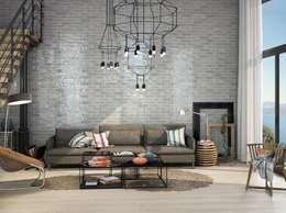 Wandfliesen im Retor-Look in deinem Wohnzimmer : industriale Wohnzimmer von Fliesen Sale