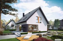 Projekt domu Mini 5 - mały, kompaktowy, na wąską działkę : styl , w kategorii Dom jednorodzinny zaprojektowany przez Pracownia Projektowa ARCHIPELAG