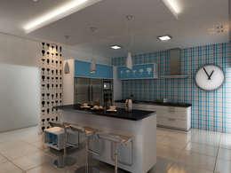 Cozinha Contemporânea: Armários e bancadas de cozinha  por Marcelo Brasil Arquitetura