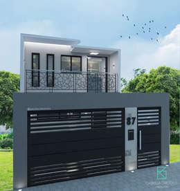 Fachada Duplex: Casas familiares  por Gabriela Cardoso Arquitetura
