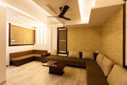 Living Room wallpaper at backdrop: asian Living room by Spacecraftt Architects