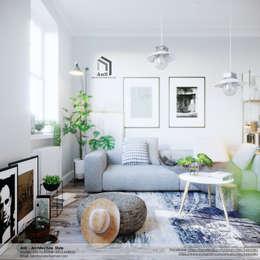Dự án Căn hộ phong cách Scandinavian:  Phòng khách by AnS - Architecture Style