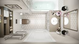 Квартира 65 кв.м в стиле Американская классика в ЖК Николин парк: Ванные комнаты в . Автор – Студия архитектуры и дизайна Дарьи Ельниковой