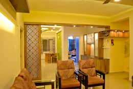 Pooja and dining from Living : modern Living room by Space Collage