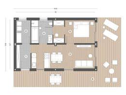 Grundsriss Beispiel A mit 61 m2 Wohnfläche:   von Casaplaner Modulhaus Schweiz
