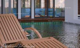 บ้านพักอาศัย 2ชั้น คุณ วีรยุทธฯ อ.แก่งกระจาน จ.เพชรบุรี:  บ่อน้ำสำหรับว่ายน้ำ by fewdavid3d-design