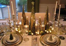 Decoración para tu mesa en Navidad: Comedores de estilo moderno por MIRIAM ESCOBEDO INTERIORISTA