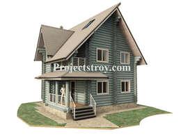 Projekty,  Dom z drewna zaprojektowane przez Projectstroy
