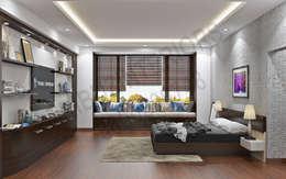 JP greens: modern Bedroom by Tribuz Interiors Pvt. Ltd.