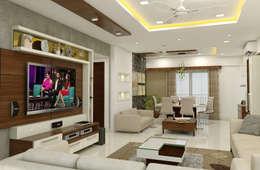 3 BHK flat @ Lodha Meridian: modern Living room by shree lalitha consultants