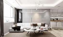 Nội thất căn hộ Novaland:  Phòng khách by thiết kế kiến trúc CEEB