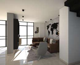Diseño interior apartamento estilo industrial: Salas multimedia de estilo industrial por Savignano Design