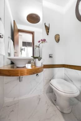 26 lavabos bem decorados para encantar for Piso rustico moderno