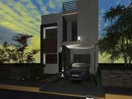 Fachada Principal vista de noche : Casas de estilo minimalista por HC Arquitecto