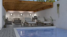 Jardin posterior con Alberca : Terrazas de estilo  por HC Arquitecto