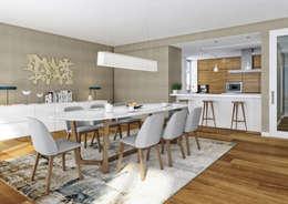 Aguiar 84 | Client: Estoril Real Estate: Salas de jantar modernas por Onstudio Lda