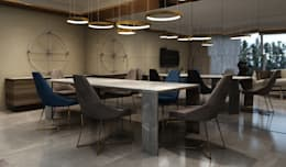 Dining area : modern Living room by  Ashleys