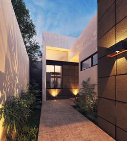 Casa VMC: Pasillos y recibidores de estilo  por Heftye Arquitectura