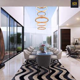Comedor doble altura.: Comedores de estilo moderno por HZH Arquitectura & Diseño