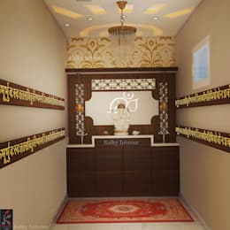 Pooja Room:  Interior landscaping by kalky interior
