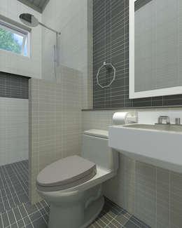 บ้านพักอาศัยชั้นเดียว:  ห้องน้ำ by แบบบ้านออกแบบบ้านเชียงใหม่