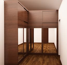 Sliding Wardrobe with loft in dressing area : modern Dressing room by NVT Quality Build solution