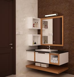 Wash basin open and closed storage : rustic Bathroom by NVT Quality Build solution