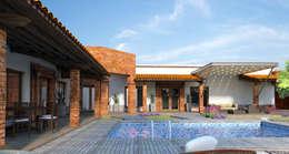 DISEÑO DE FACHADAS INTERIORES: Casas de campo de estilo  por Acrópolis Arquitectura