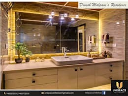 CONTEMPORARY INTERIORS BUNGALOW -RESIDENCE-APARTMENT- VILLA INTERIOR-WASH AREA:   by UNISPACE INTERIOR