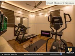 CONTEMPORARY INTERIORS BUNGALOW -RESIDENCE-APARTMENT- VILLA INTERIOR -GYM SPACES:   by UNISPACE INTERIOR