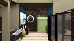 CASA HUICHAPAN: Pasillos y recibidores de estilo  por CAXÁ studio