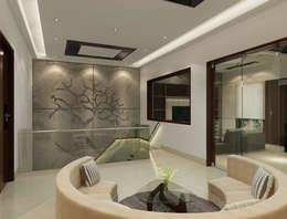 Suneja Residence Interior Design:  Corridor & hallway by Rhomboid Designs