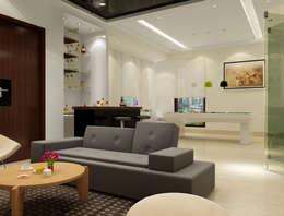 Suneja Residence Interior Design: modern Media room by Rhomboid Designs
