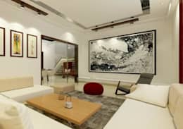 Suneja Residence Interior Design: modern Living room by Rhomboid Designs