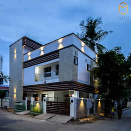 Night view:  Single family home by Studio Madras Architects