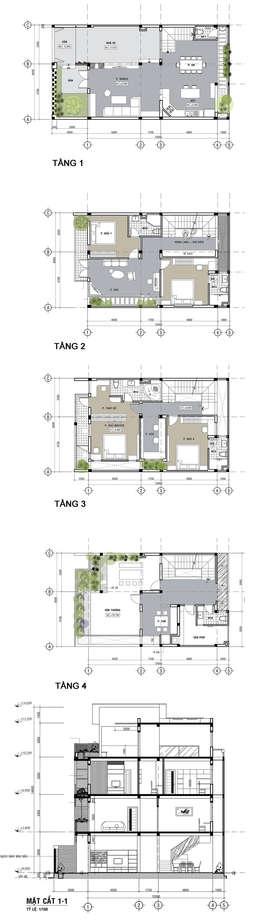 Mẫu Thiết Kế Nhà 4 Tầng 8x12m Hướng Tây Luôn Mát Mẻ Ở Gò Vấp:  Nhà gia đình by Công ty TNHH Xây Dựng TM – DV Song Phát