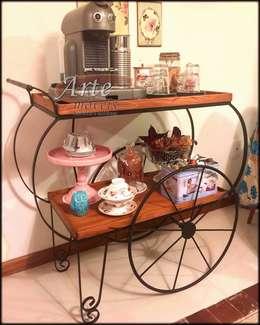 Carrinho de Chá 1,04 x 0,50 em Ferro com Madeira - 4705: Cozinha  por Arte Móveis Rústicos