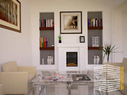 CHIMENEA CLASICA: Salas de estilo clásico por HHRG ARQUITECTOS