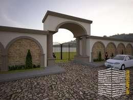 BARDA DE ACCESO: Casas de estilo rural por HHRG ARQUITECTOS
