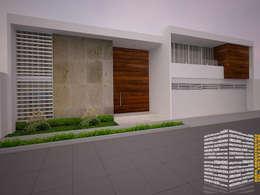 FACHADA CON CANTERA: Casas de estilo minimalista por HHRG ARQUITECTOS