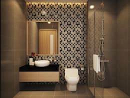 Phòng tắm đứng với thiết kế hiện đại mang đến sự sang trọng.:  Phòng tắm by Công ty TNHH Thiết Kế Xây Dựng Song Phát
